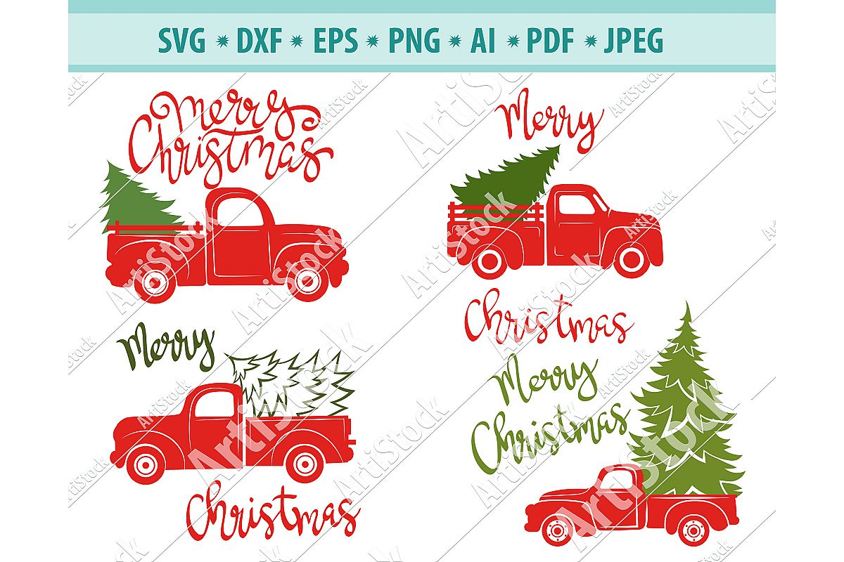 Christmas truck svg, Christmas tree svg,Truck Png ,Dxf, Eps example image 1