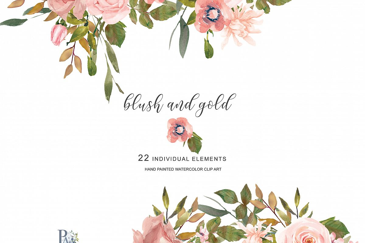 Watercolor Flower Clipart Separate Elements