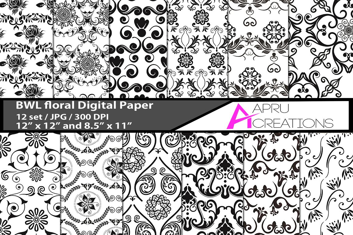 Black and White floral digital papers, stars pattern, digital papers, high quality 300 dpi, 12 x 12 inch , and 8.5 x 11 inch example image 1
