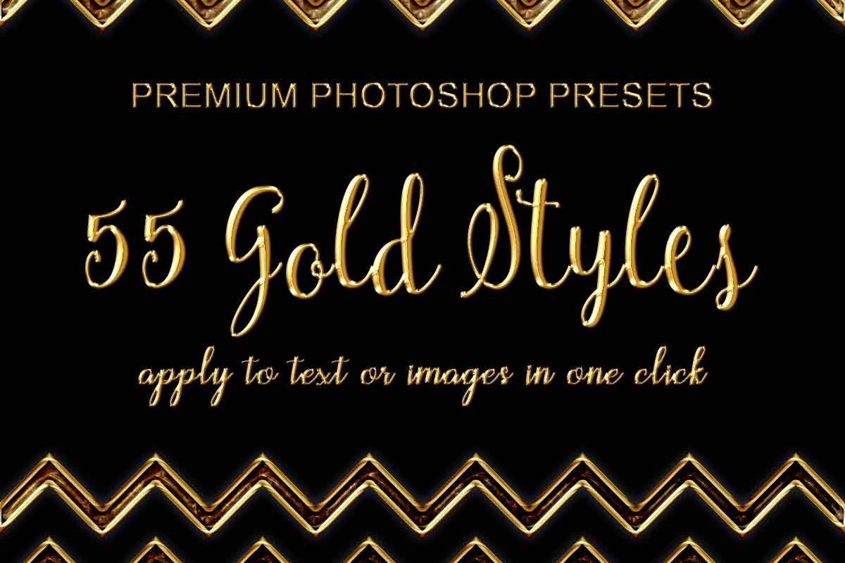 55 Photoshop Text Effects, Gold Foil Effect, Gold Stamp, Embossed Gold, ASL FX Styles, One Click FX example image 1
