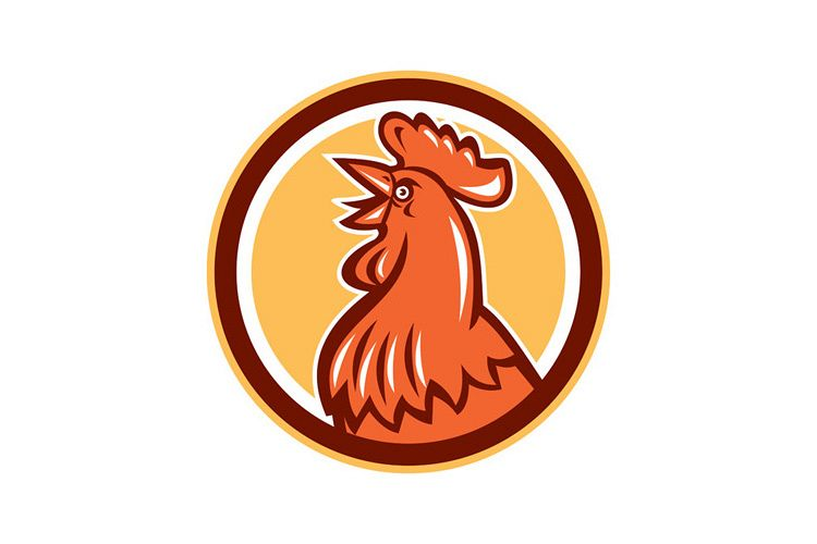 Chicken Rooster Head Crowing Circle Retro example image 1