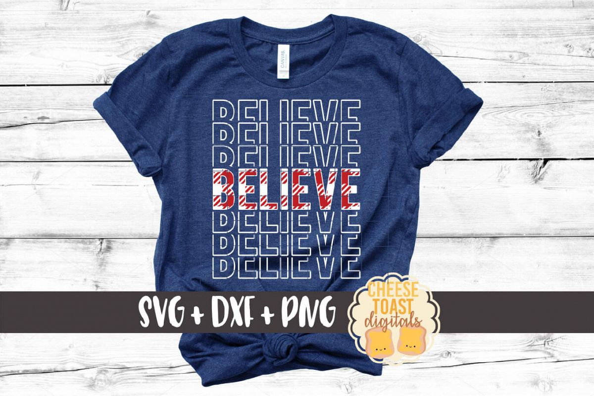 Believe - Buffalo Plaid Christmas Mirror Word SVG PNG DXF example image 1