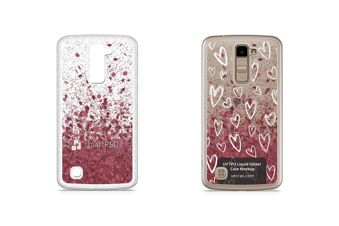 LG K10 UV TPU Liquid Glitter Case Design Mock-up example image 1