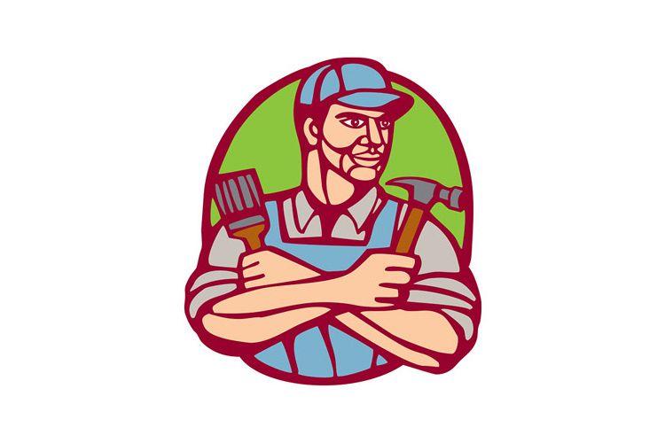 Builder Carpenter Paintbrush Hammer Linocut example image 1