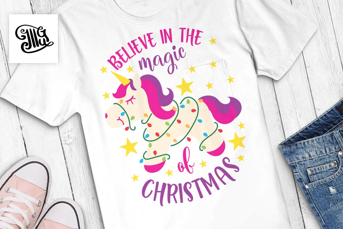 Believe in the magic of Christmas - unicorn example image 1