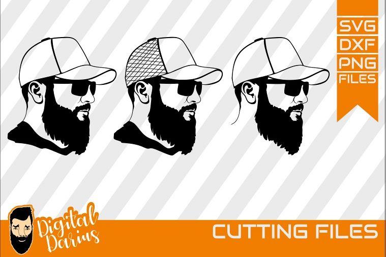 3x Beard man with cap svg, Man face SVG, Man svg, Long beard example image 1