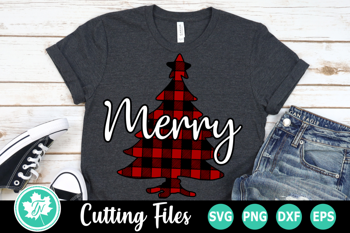 Merry Plaid Tree - A Christmas SVG Cut File example image 1