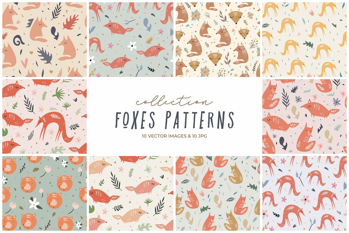 Cute foxes seamless patterns, nursery prints, vector clip ar example image 1