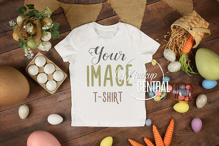 Blank White Easter T-Shirt Top View Apparel Shirt Mockup example image 1