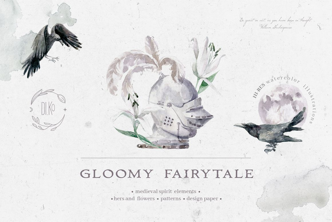 Gloomy fairytale graphic collection. example image 1