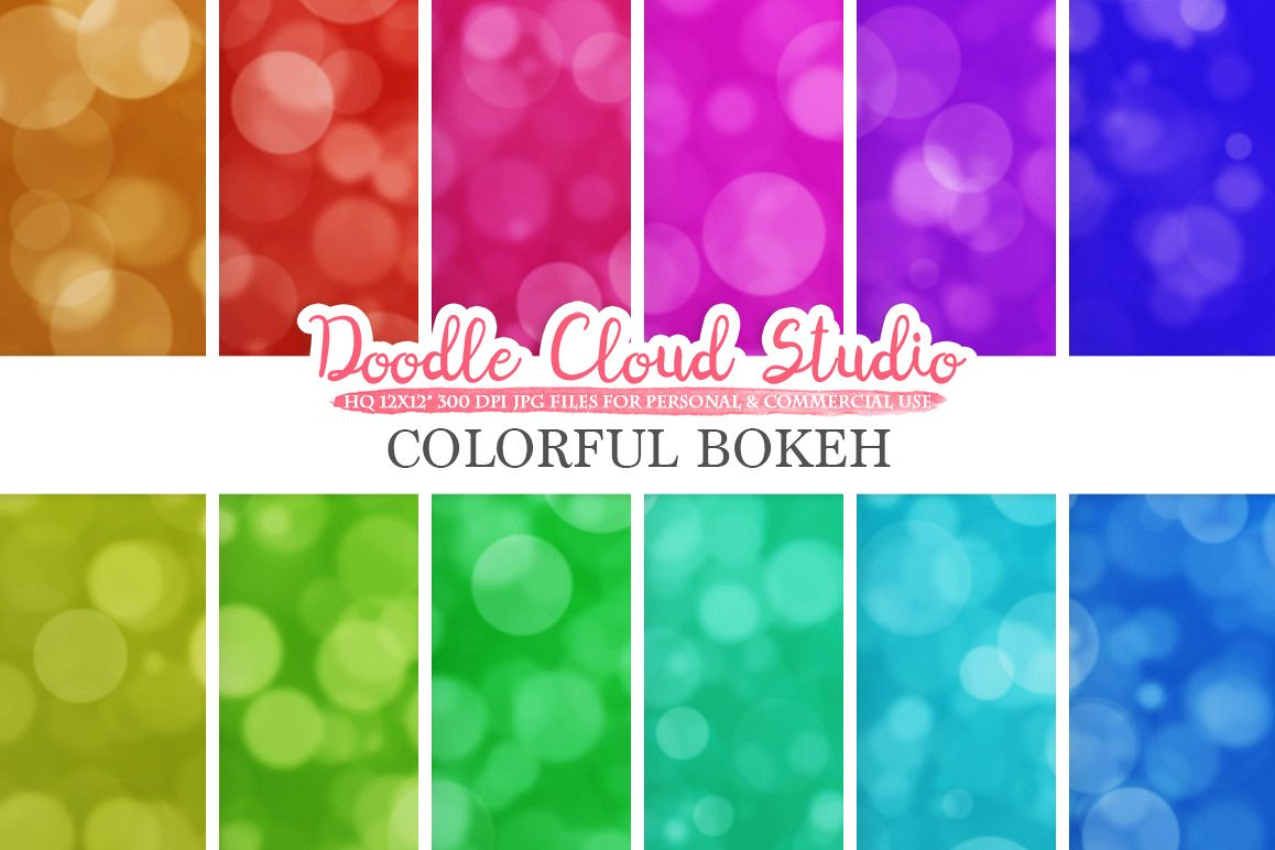 Bokeh digital paper, Colorful Bokeh Overlay, Rainbow Bokeh backgrounds, Instant Download, for Personal & Commercial Use example image 1