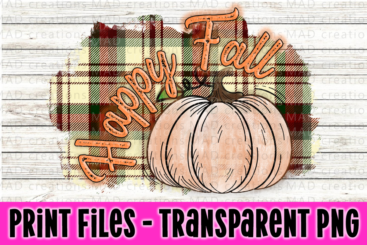 Happy Fall - Green and Red Plaid - Pumpkin - Print File example image 1