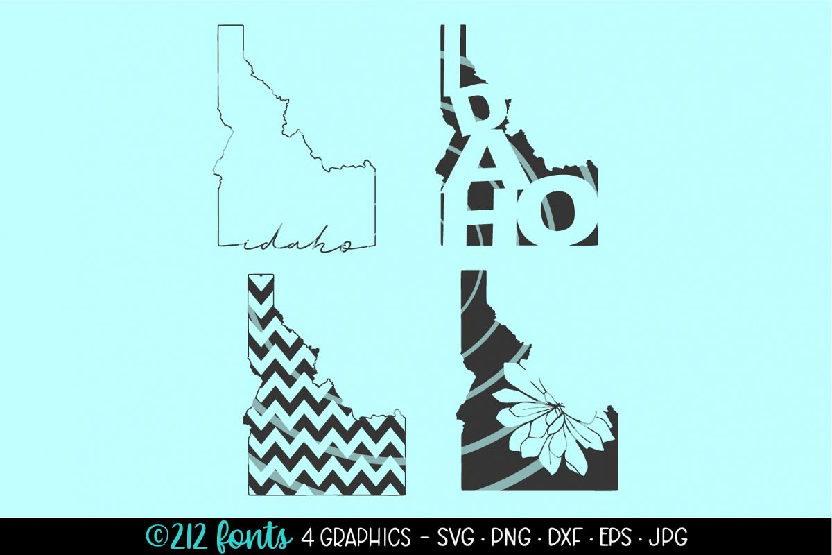 4 - Idaho State Map Graphics Cut File DXF PNG JPG SVG EPS example image 1