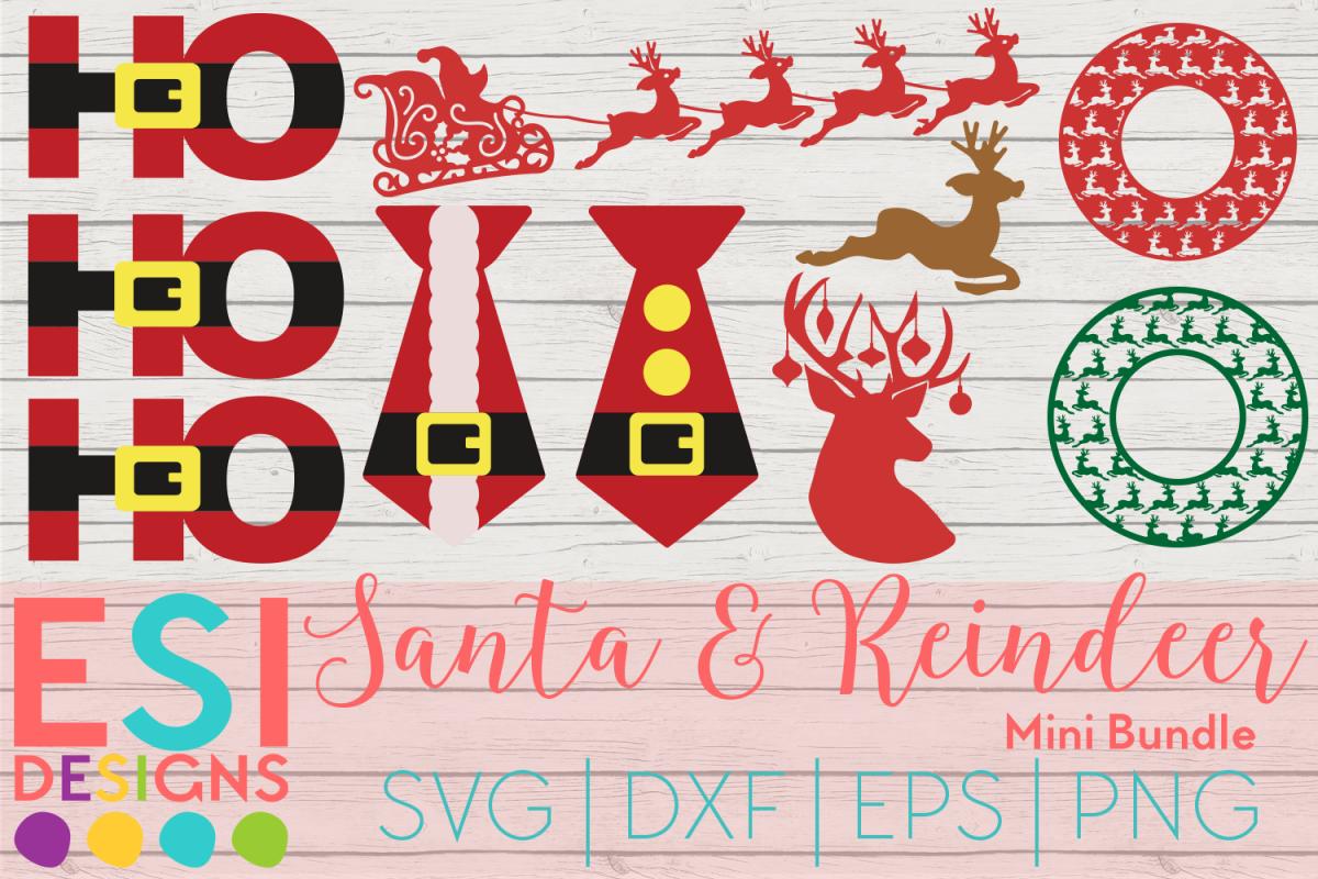 Christmas SVG Santa Reindeer Mini Bundle   SVG DXF EPS PNG example image 1