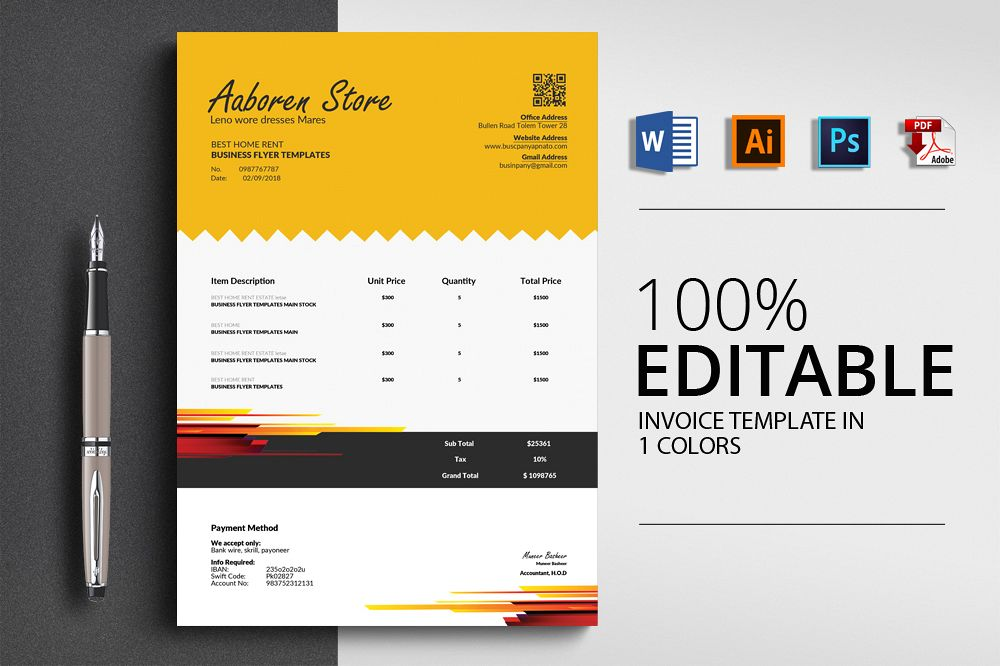 Professional Invoice Template example image 1