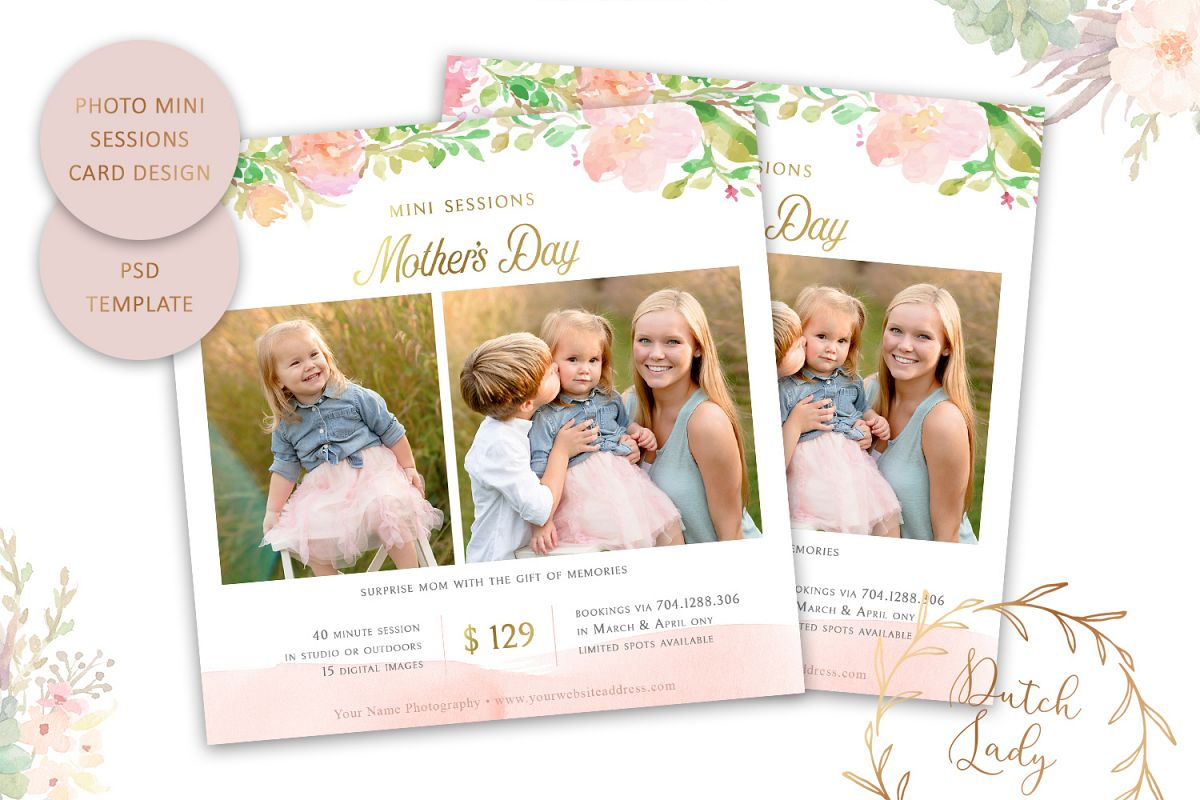 PSD Photo Mother's Day Mini Session Card Template - #41 example image 1