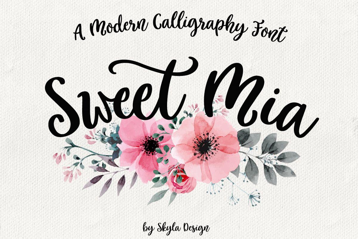 Modern Calligraphy Font Sweet Mia Example Image