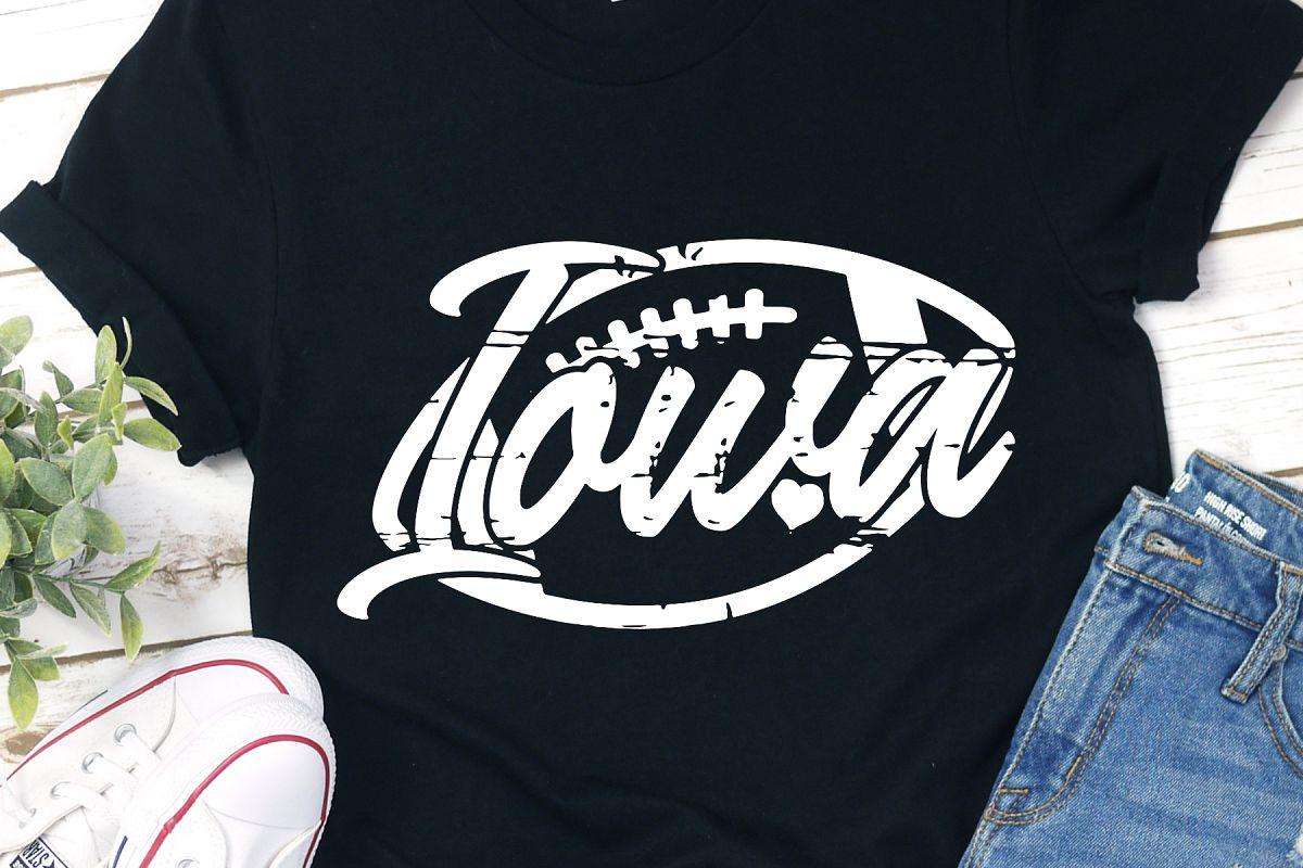 Iowa Football Grunge Distressed Football SVG example image 1