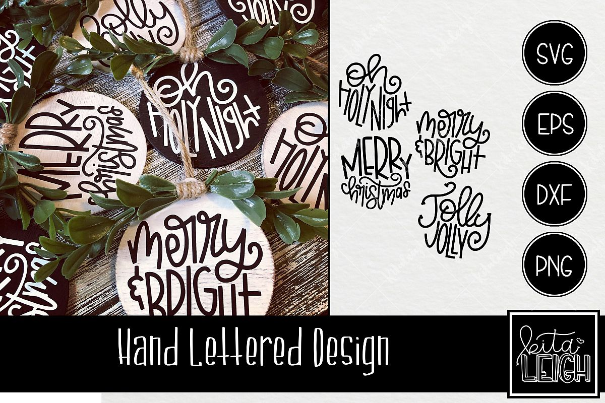 Christmas Hand Lettered Rounds SVG example image 1