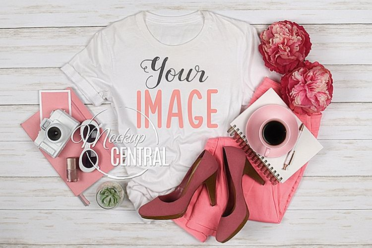 Pretty Women's Blank White T-Shirt Styled Shirt Mock Up JPG example image 1