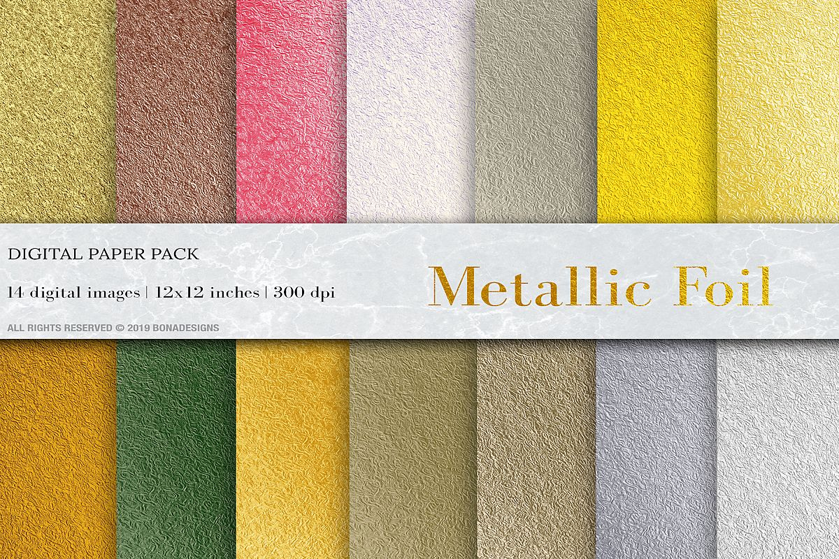 Wedding Metallic Foil Digital Papers, Gold Foil Background example image 1