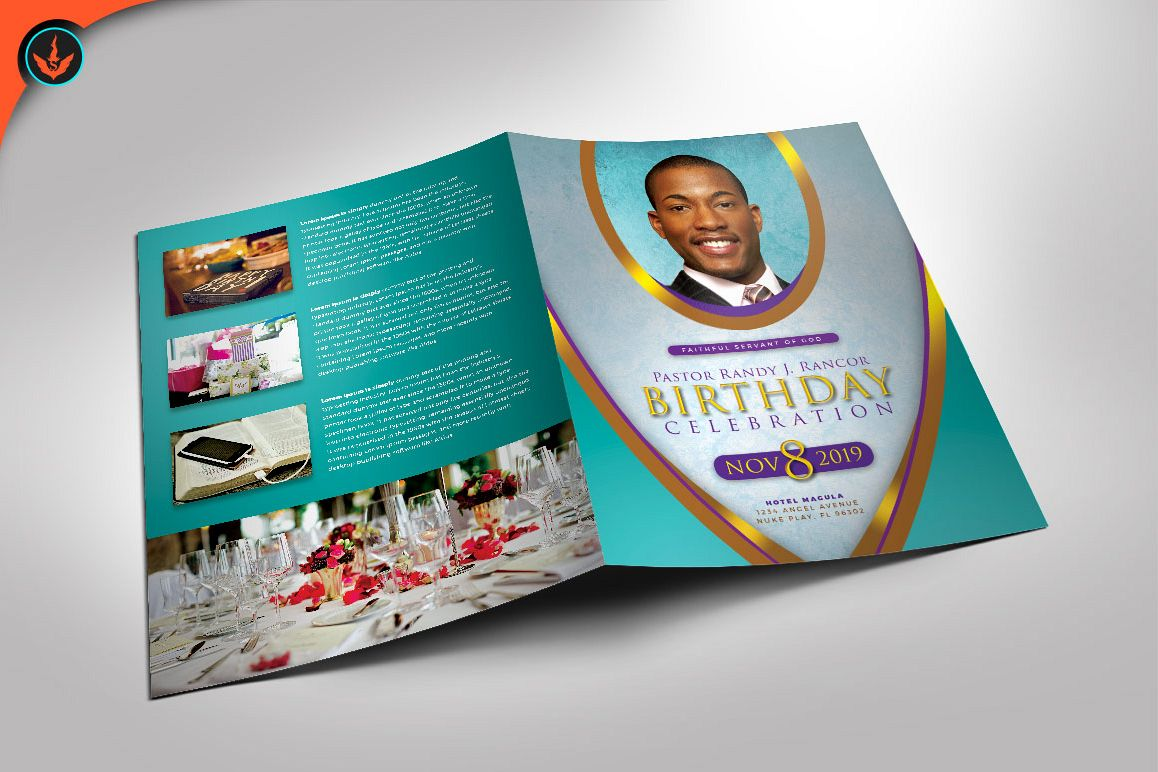 Royal Teal Pastor Birthday Party Program Photoshop Template example image 1