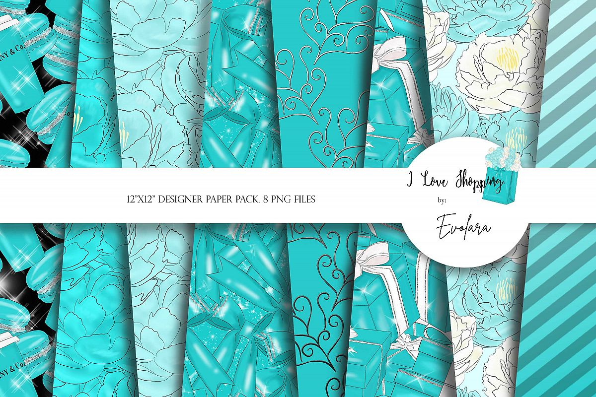 Blue Digital Papers Tosca Digital Paper Blue Backgrounds example image 1