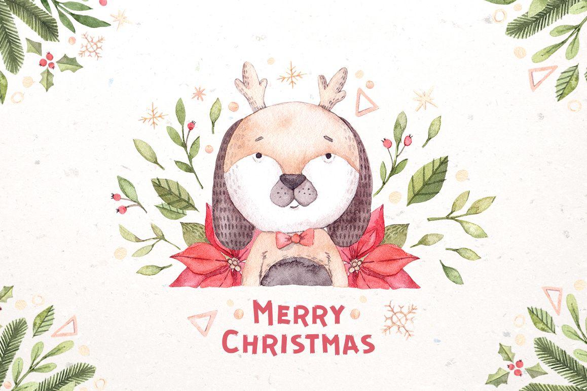 Watercolor christmas dogs kit. Xmas example image 1