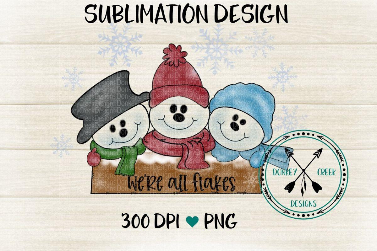 Hand Drawn Snowman Trio Sublimation Design example image 1