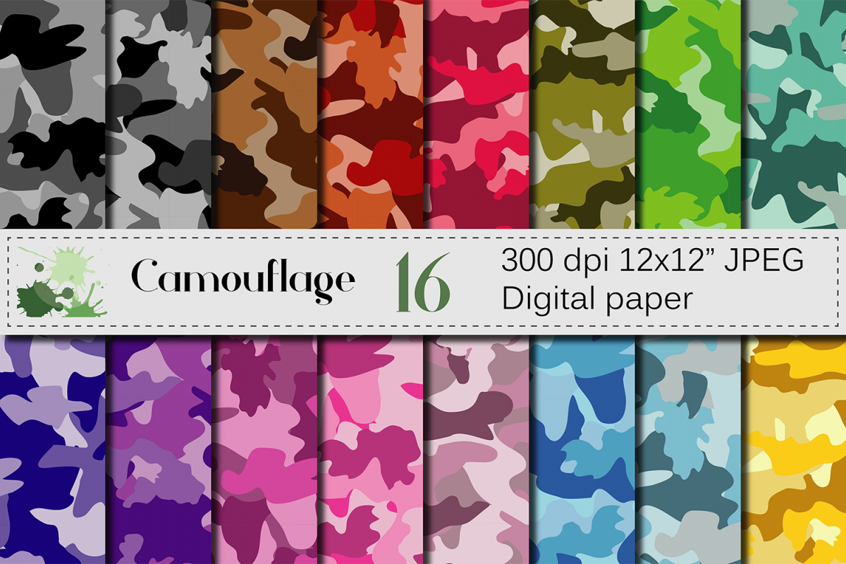 Camouflage Digital Paper Pack Colorful Camo Backgrounds Rainbow