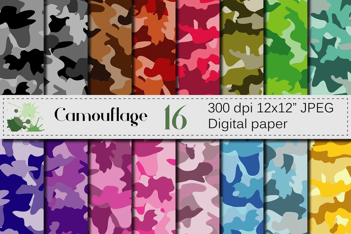 Camouflage Digital Paper Pack Colorfu Design Bundles