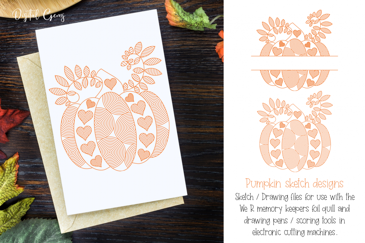 Pumpkin, single line sketch files / foil quill files example image 1