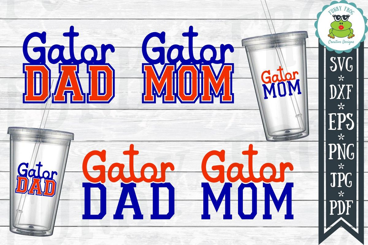 Gator Dad and Gator Mom SVG Cut File for Crafters example image 1