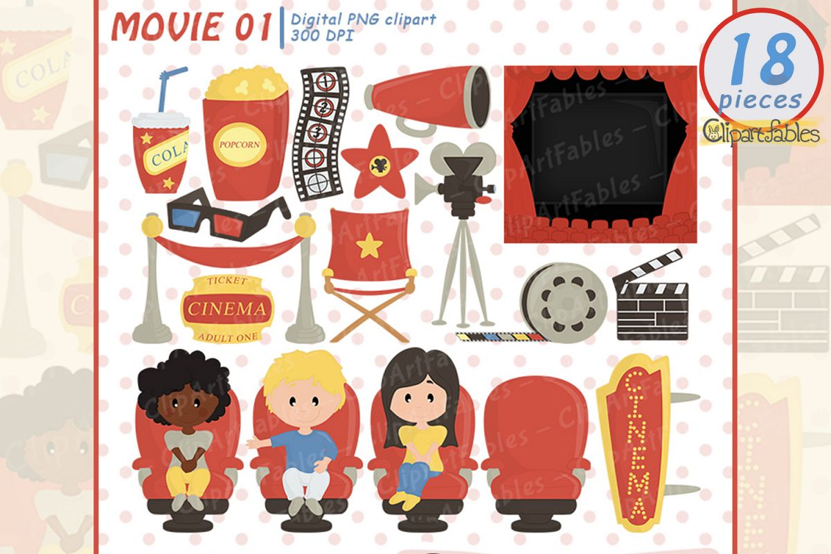 MOVIE clipart, Cinema clip art, Movie party example image 1