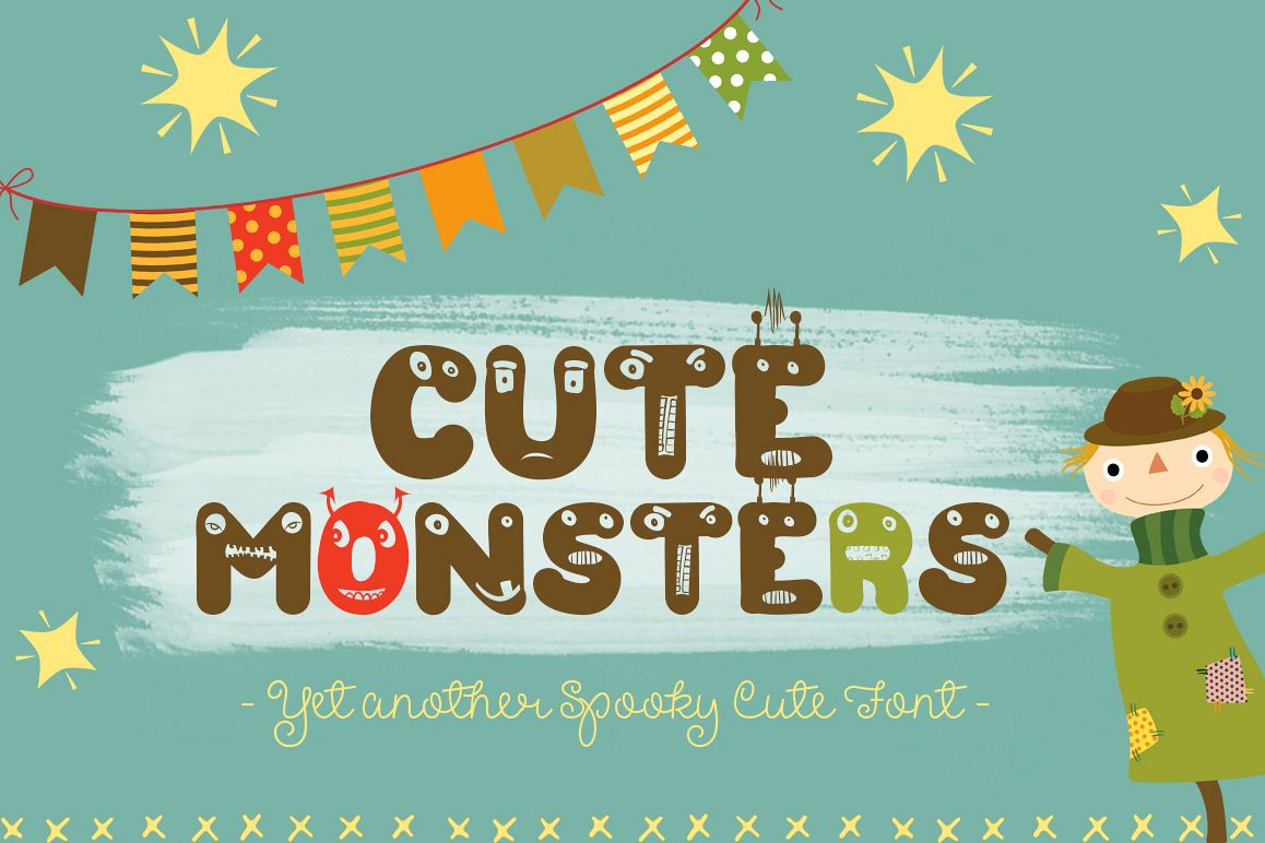 Cute Monsters – A Spookily Cute Halloween Font example image 1