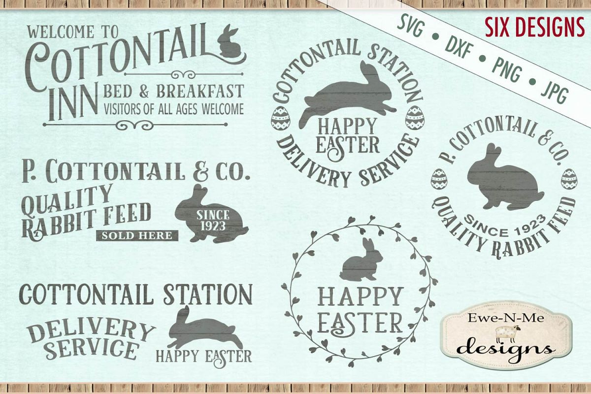 Easter Cottontail Bundle Easter Bunny Rabbit SVG DXF Files example image 1