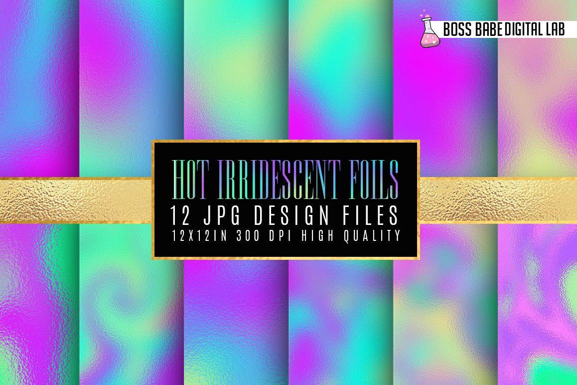 Hot Iridescent Foils digital paper example image 1