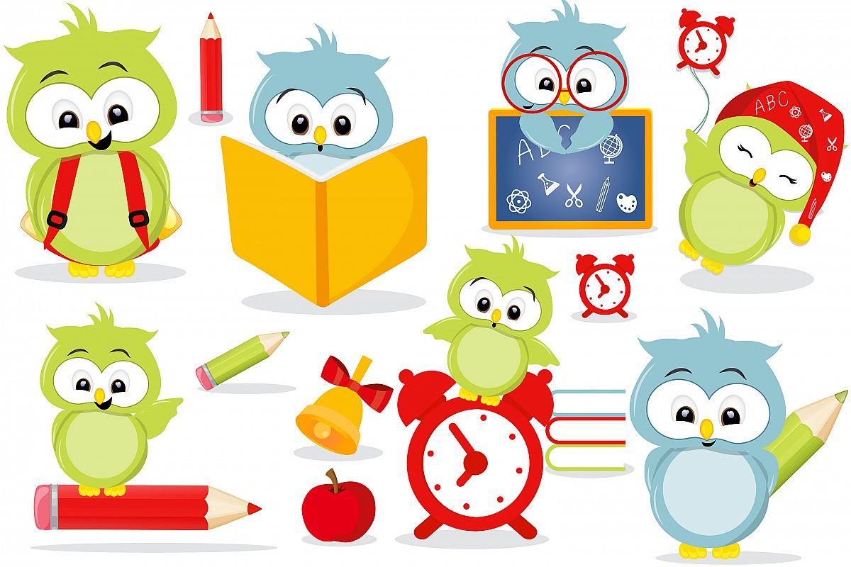 Owls in school clipart, Owls in school graphics