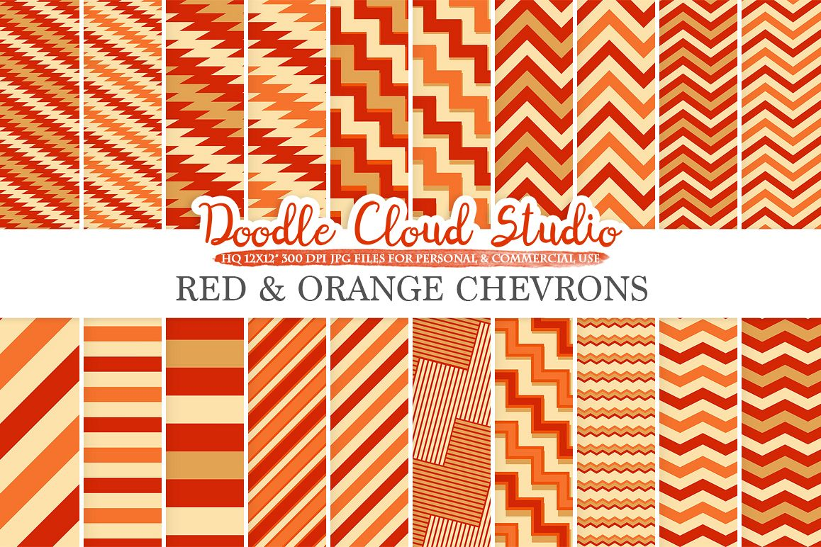 Red and Orange Chevron digital paper, Red and Gold Chevron and Stripes  pattern, Zig Zag lines background for Personal & Commercial Use example image 1