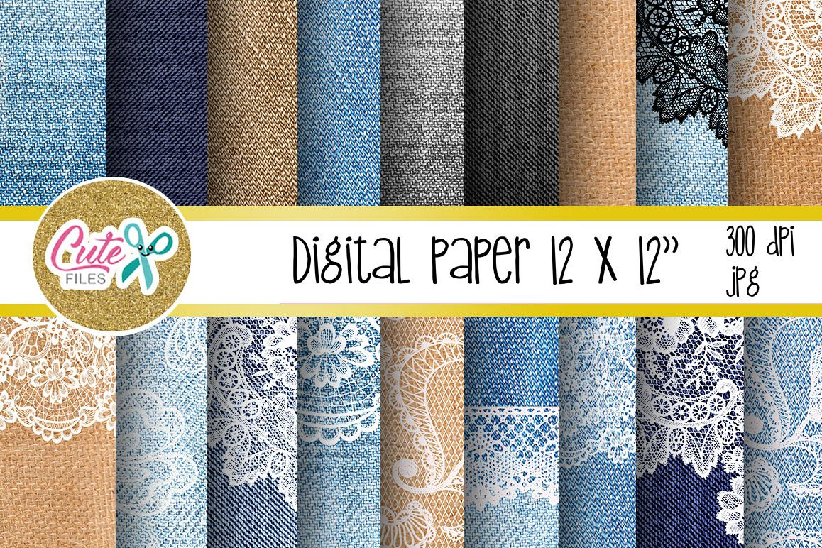 Denim and lace digital paper for scrapbooking example image 1