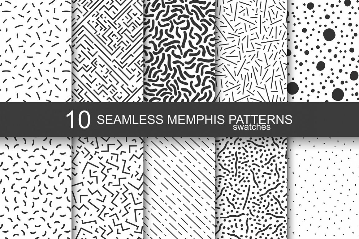 Memphis seamless patterns - swatches example image 1