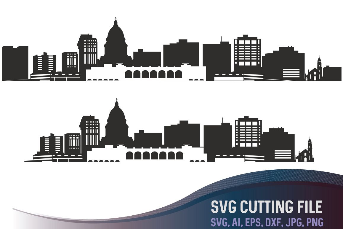 Madison city SVG, City of Madison Vector Skyline Wisconsin silhouette, USA city, SVG, JPG, PNG, DXF, CDR, EPS, AI example image 1