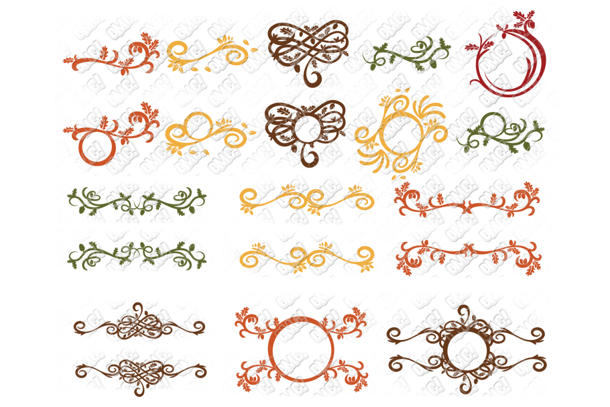Fall Flourish SVG Monogram Border in SVG, DXF, PNG, EPS, JPG example image 1