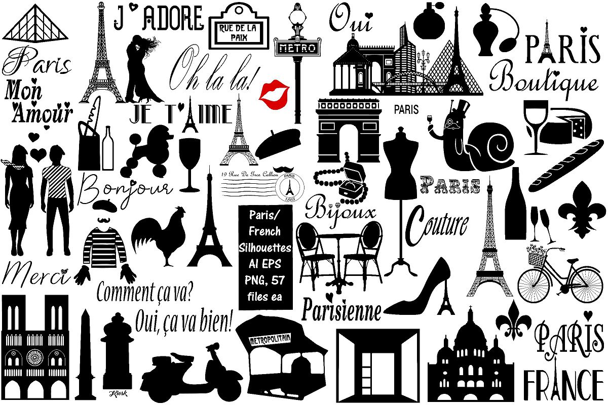 Paris and French Silhouettes AI EPS PNG, French Word Art