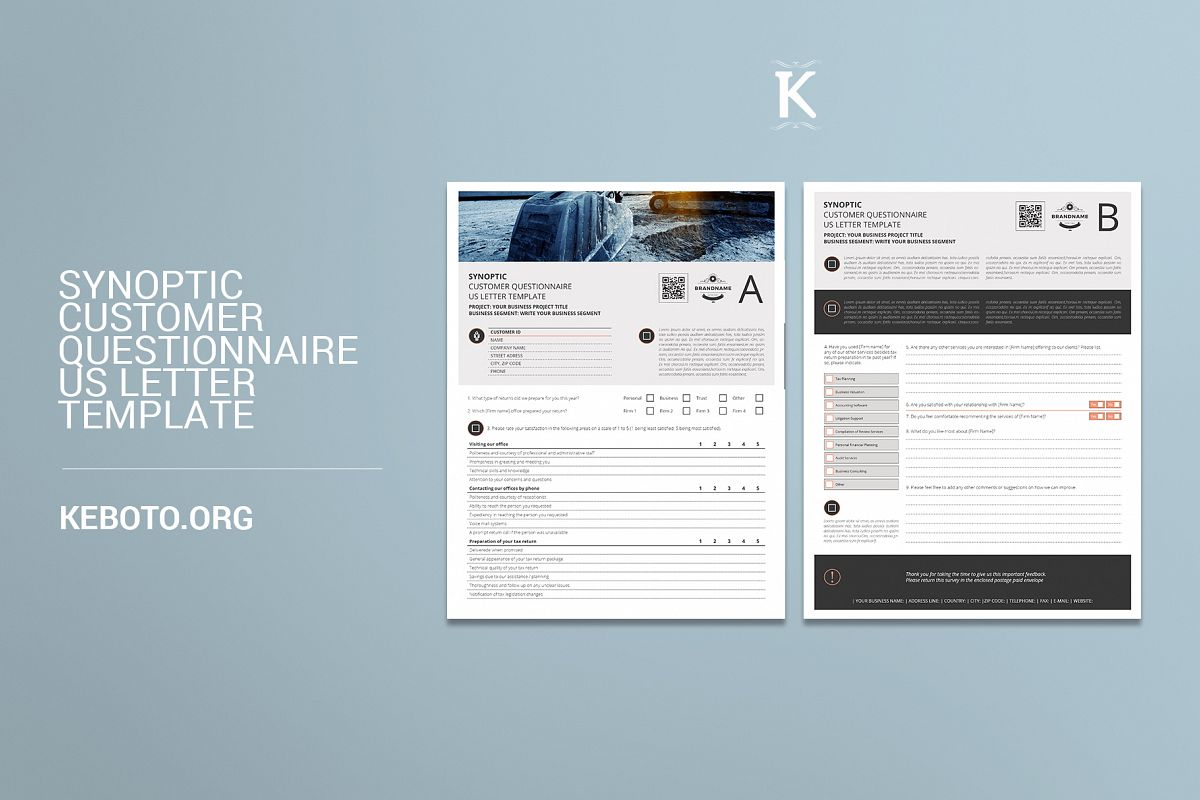 synoptic customer questionnaire us letter template example image 1