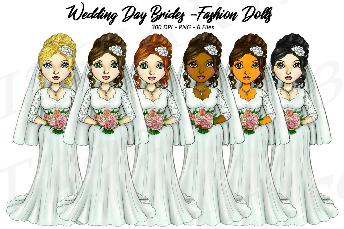 Bride Clipart Wedding Girls, Fashion Doll Illustrations, PNG example image 1