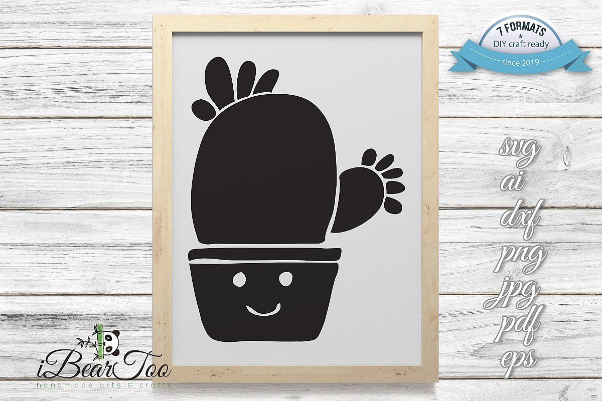 Cactus SVG Black Clipart Succulent Drawing Vector Cut File example image 1