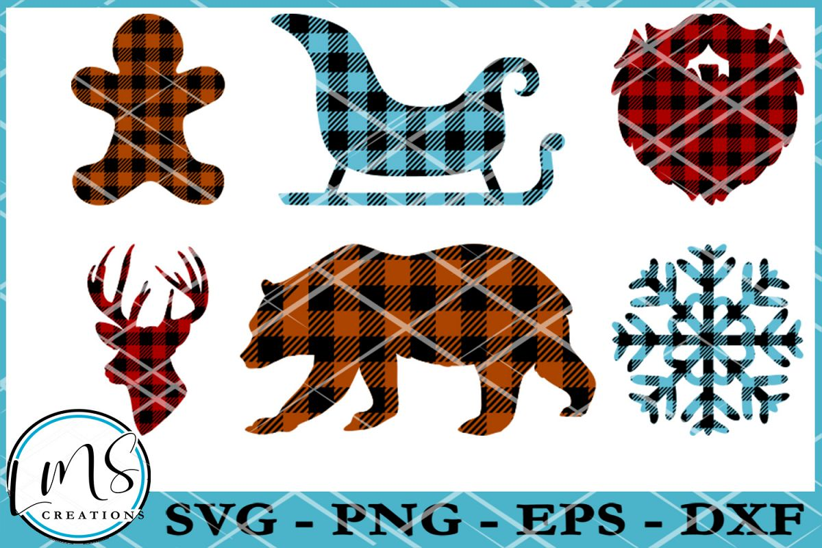 Christmas Shapes.Buffalo Plaid Pattern Christmas Shapes Svg Png Eps Dxf