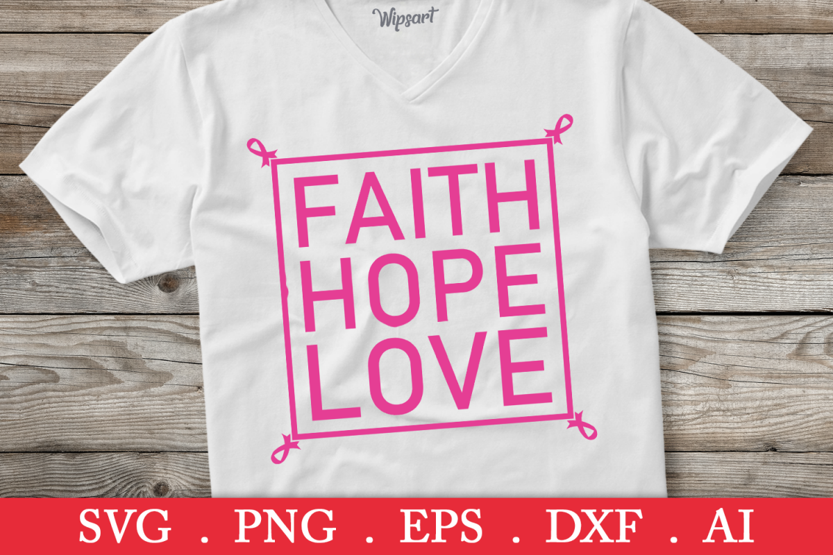 SALE! Faith Hope Love svg, breast cancer svg, cancer ribbon example image 1