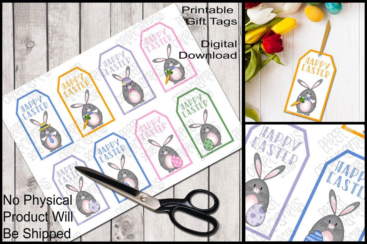 Printable Easter Gift Tags, Gray Bunnies example image 1